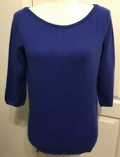 1e9f66382a4 ANTONIO MELANI Womens CASHMERE Sweater Size M Boatneck BLUE 3 4 Sleeves