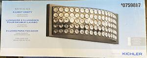 Kichler Krystal Ice 3-Light 17.8-in Olde Bronze Rectangle Vanity Light