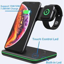 3 in 1 Fast Qi Wireless Charger 15W Dock Stand For Apple iWatch Airpods iPhone