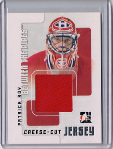 PATRICK ROY 07/08 ITG BTP Large Crease-Cut Jersey Game-Used Canadiens Card /90