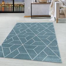 Kurzflor Design Teppich Wohnzimmerteppich Geometrisches Muster Linien Soft Blau