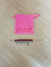 Bibi Bijoux Leather Bracelet Diamante Charm Heart Rose Gold Tone Bracelet