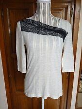 MANGO T-shirt haut écru dentelle noire M 38 - SUPERBE