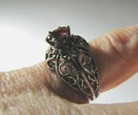 Vintage Sterling Silver Filigree Garnet Ring Ornate Open Silver Work 5.5