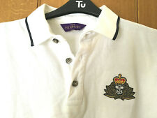 Cotton polo shirt, whitewith navy tips, Large, New, embroidered Royal Navy badge
