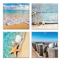 Quadri mare spiaggia 4 Pezzi Stampa su Tela con Telaio in Legno Arredamento arte