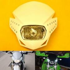 White Motorcycle LED Headlight Fairing Enduro Cross Dual Sport Dirtbike Racing