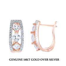 18K Rose Gold Over Square Princess Cut Clear CZ Three Stone Hoop Earrings