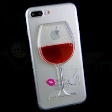 "Pellicola+Custodia cover RED WINE liquido rosso per iPhone 7 Plus 5.5"" TPU bacio"