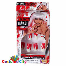 Adults Womens Bloody Press On Fake Nails Halloween Fancy Dress Accessory