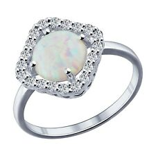 MIRKADA Damen 925 Sterling Silber Ring mit Opal und Zirkonia Gr. 52 * NEU *