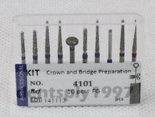 10PCS Dental Diamond Burs Kit Crown and Bridge Preparation for Anterior Teeth FG