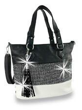 Rhinestone Bling Accented Banded Fashion Hobo Handbag Purse Bag Bling Black Big