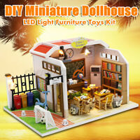 DIY LED Apartments Dollhouse Miniature Wooden Furniture Kit Doll House Toy Gift