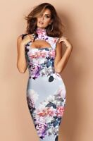 NEW GORGEOUS CELEBRITY EVENING OFFICE PARTY FLORAL BODYCON DRESS - 10 12 14 16