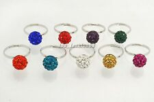 wholesale lots 5pcs Finger Ring Crystal Disco Ball Adjustable Woman Gift FREE
