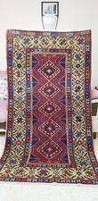 Beautiful Vintage 1950-1960's  Multi-Colored Wool Pile Tribal Rug 3x6ft