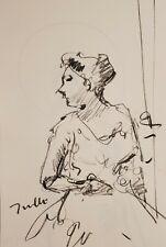 JOSE TRUJILLO - Original Charcoal Paper Sketch Drawing 11X17 WOMAN FIGURE ART