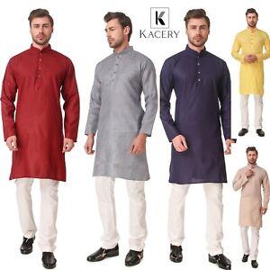Men's  Indian Cotton Plain Short  Kurta Pajama AN530
