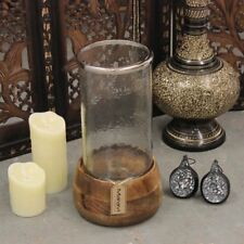 Rimo Hurricane Lantern Mango Wood and Glass Showpiece Large Candle Holder Home