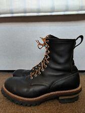Red Wing Logger Boots 2218 Black Boomer Leather Lineman Storm Welt UK 9 US 10D