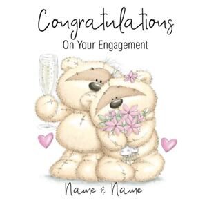 PERSONALISED HAPPY COUPLE ENGAGEMENT CARD - FIZZY MOON BEAR - ADD NAMES