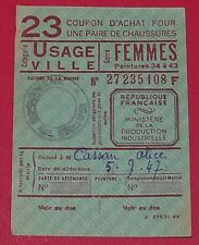 RARE CARTE 23 COUPON ACHAT CHAUSSURE VILLE FEMME P. 34 à 43 1947 IVe REPUBLIQUE