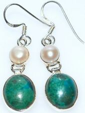 Multi Gemstone Sterling 925 SILVER Earring, Chrysocolla + white Pearl Earrings