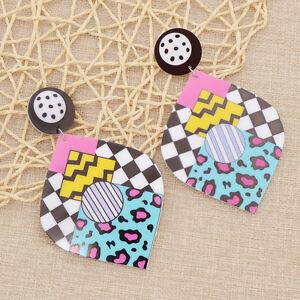 1 Pair Acrylic Waterdrop Graffiti Earrings Punk Eardrop Women Girl Jewelry Gift