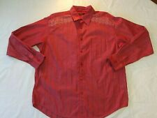 ConTigo Men's long-sleeved, button up shirt, burgundy, white embroidery, XL