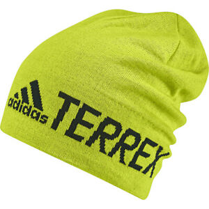adidas Terrex Beanie Men's Women's Logo Climaheat Winter Hat Outdoor Yellow New