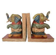 Elephant Bookends Colourful Shabby Chic Hand Carved Nursery Decor Fair Trade