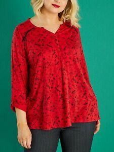 Long jersey Henley Top Plus Size 18/20 22/24 26/28 30/32 Red Floral blouse 488