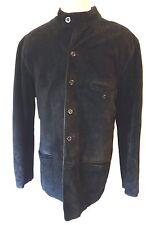 NEHRU collar suede leather jacket MOD kurta XL BLACK matrix gothic steampunk