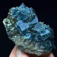 135g Translucent Deep Blue Cubic Fluorite & Smoke Quartz Mineral Specimen China