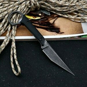 Needle Point Knife Hunting Tactical Combat Survival High Carbon Steel G10 Handle