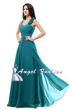 Formal Chiffon Long Evening Ball Gown Party Prom Wedding Bridesmaid Dress UK Teal 10 - 12