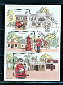 AUSTRALIA 1980 NATL STAMP WEEK SOUVENIR SHEET WITH SPECIAL CANCEL SCT 755a