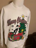 Vintage Warner Bros Looney Tunes  Merry Christmas Kentucky Mens Sweatshirt L