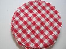 15 Stoffdeckchen / Hauben rot/weiß mit Herzchen für Marmeladengläser, Deckchen