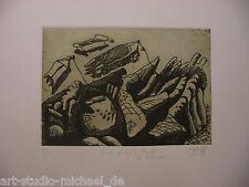 """Norddeutsche Künstler: Pit Morell: """"Boote am Fels"""" Radierung/Aqutinta, 1979"""