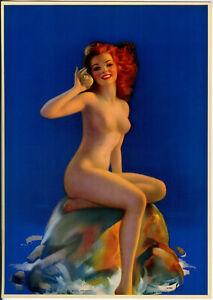 Vintage 1930s Jules Erbit Pin-Up Poster Nude Redhead w/ Seashell Listening Nymph