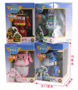 4 Pcs Robocar Poli Transformation Robot Car Toys South Korea Thomas