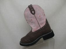 Justin Gypsy Ostrich Print Brown Leather Pink Suede Cowboy Boot Sz 6 B- L9935