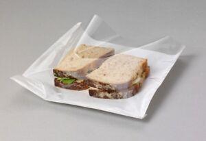"""100x CLEAR Film Front Cellophane Paper Food Bags Sandwich Bakery Cake 7"""" x 7''"""