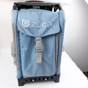 Zuca Light Blue Grey Bag Black Frame Light Up Wheels Baby Rolling Luggage