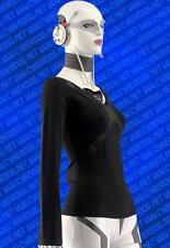 Cyberdog X-Girl strappy top long sleeve shirt goth cyber raver black Small S