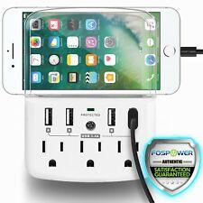 FosPower 3 Outlet Grounded LED Surge Protector 4 USB with Phone Holder Wall Tap