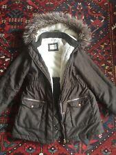 John Lewis Coat Age 10 Yrs Parka Winter School Green Hooded Faux Fur Lined Warm