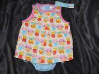 BABY INFANT GIRL ZUTANO TANK SUNSUIT DRESS SKIRTED ROMPER HAPPY CAT 6-9-12 NEW
